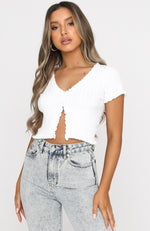 Girls In Love Knit Crop White