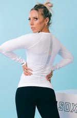 She's Seamless Long Sleeve Top White