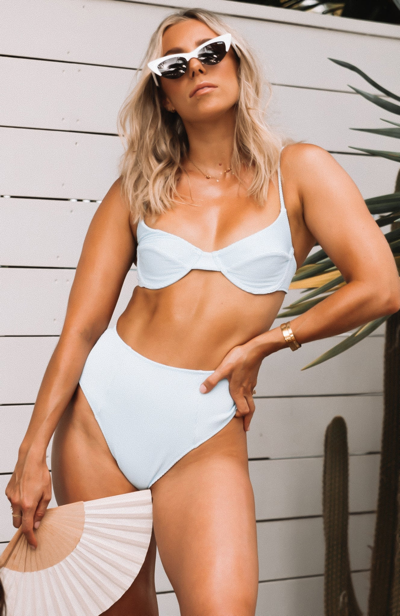 Haven Bikini Top Baby Blue Rib