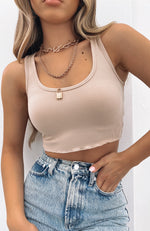 All For One Ribbed Crop Beige