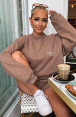 Self Love Club Oversized Sweater Mocha