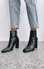 Feign Ankle Boots Black Croc