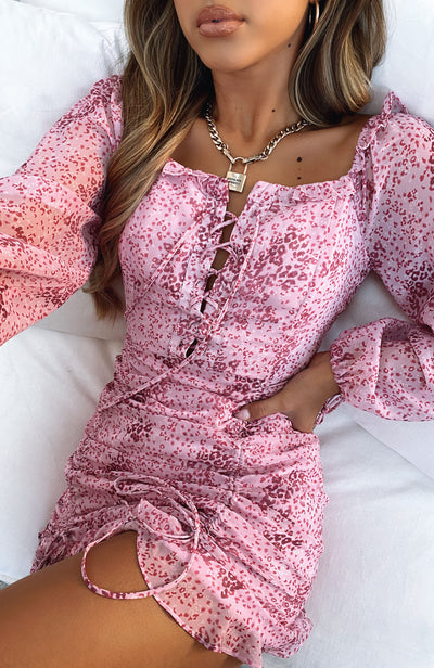 High Stakes Mini Dress Pink Print