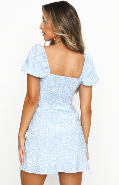 Like A Vision Mini Dress Blue Print