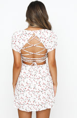 Water Lily Lace Up Open Back Mini Dress White Floral