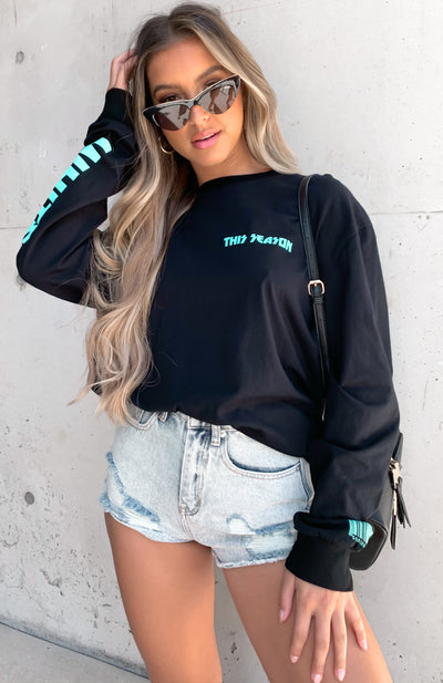 Wish You Well Long Sleeve Tee Black/Aqua
