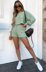 All Day Long Knit Shorts Sage