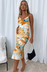 Amalfi Moment Midi Dress Orange Tie Dye