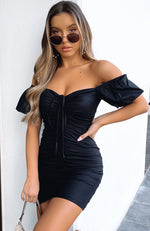 Italian Coastline Mini Dress Black