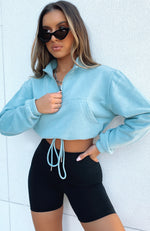 No Rules Zip Front Cropped Sweater Sage