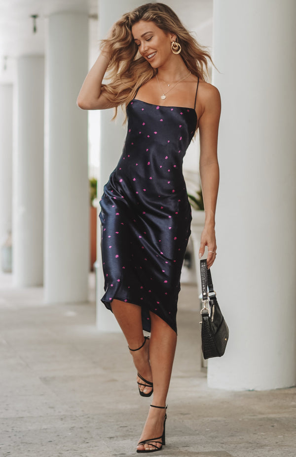 Passion Splash Midi Dress Navy Floral