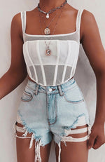 Trouble Distressed Shorts Light Blue