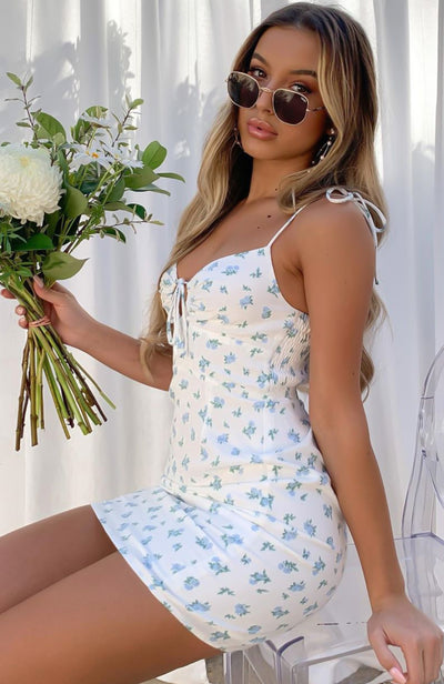 Golden Sun Mini Dress White/Blue Floral