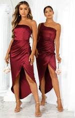 Night To Remember Midi Dress Merlot