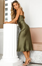 Be My Lover Midi Dress Olive