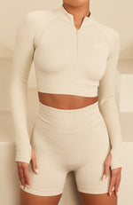 Seamless Long Sleeve Sports Crop Cuban Sand