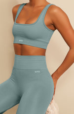 Seamless Ribbed Sports Bra Sage