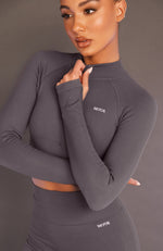 Seamless Long Sleeve Sports Crop Shadow