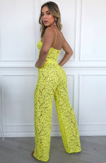 Cherie Lace Palazzo Pants Citrus Yellow
