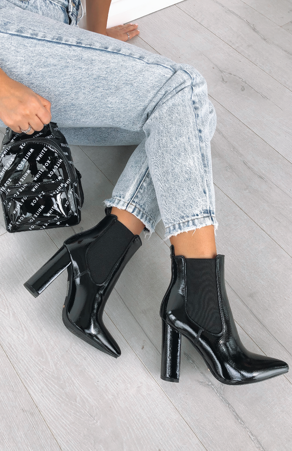 Madelyn Boots Black Crinkle Patent