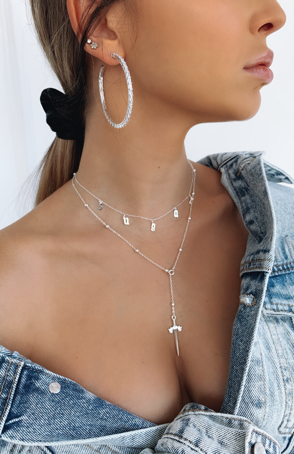 Drippin' Daggers Necklace Silver