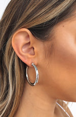 Take You Far Hoop Earrings Silver