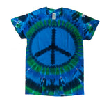 Adult Blue and Green Peace Sign Tie Dye T-shirt