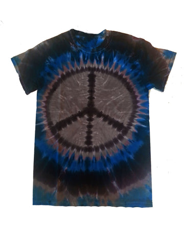 Adult Blue and Gray Peace Sign T-shirt