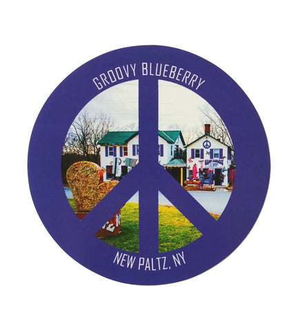 Peace With Groovy Blueberry House Sticker