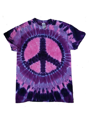 Adult Pink and Purple Peace Sign Tie Dye T-Shirt