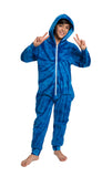 Adult Blues Swirl Long Sleeve Hooded Onesie