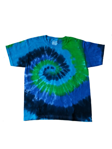 Youth Short Sleeve Blue and Green Swirl Tee