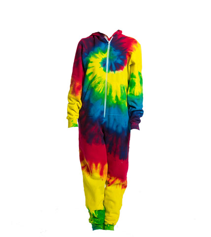 Adult Rainbow Swirl Long Sleeve Hooded Onesie
