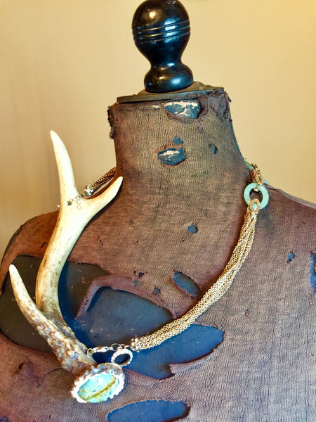 Antler Neckpiece with African Turquoise Endcap