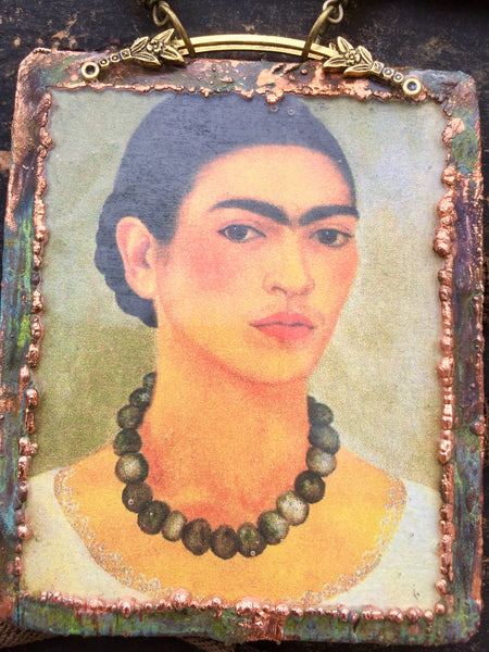 "Frida ""Diego in My Thoughts"" Copper Electroformed Necklace"