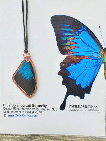Blue Swallowtail Wing Pendant