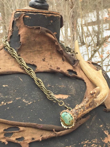Antler - Turquoise Endcap with Chain