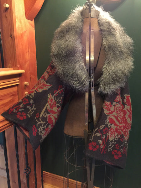 Grey Kimono SOLD - Faux Fur Collar, Custom