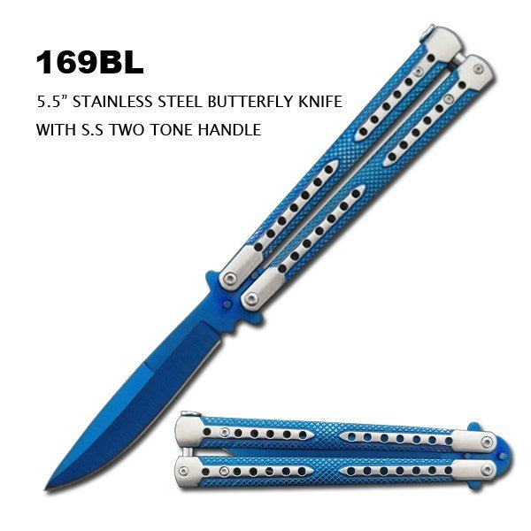 "5.5""BLUE BUTTERFLY KNIFE"
