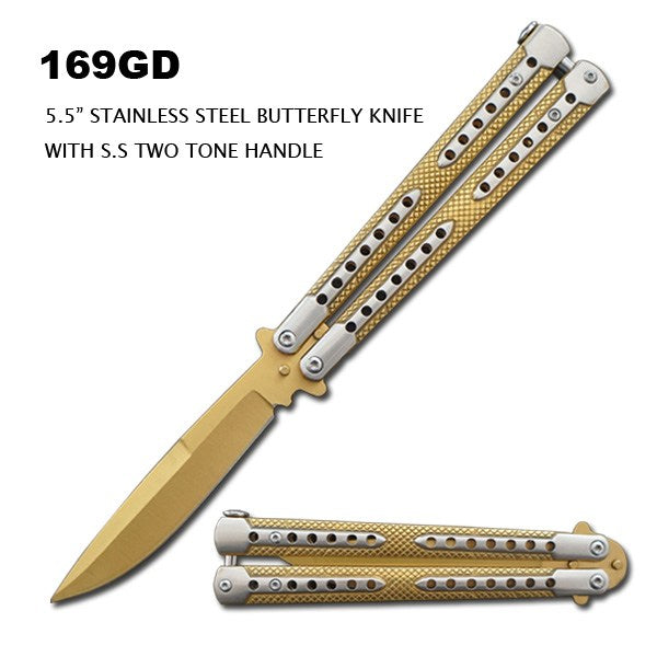 "5.5"" STAINLESS GOLD BUTTERFLY KNIFE"