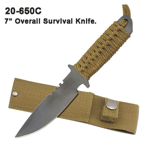 "7"" FIXED BLADE SURVIVAL KNIFE WITH SHEATH"