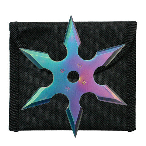 "4"" THROWING STAR WITH POUCH RAINBOW 90-16C"