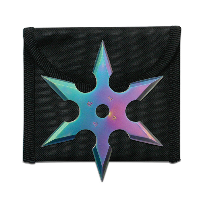 "3"" THROWING STAR WITH POUCH RAINBOW 90-19C"