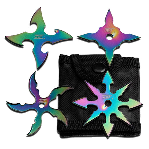 "2.5"" RAINBOW THROWING STAR SET OF 4 RC 107-4R"