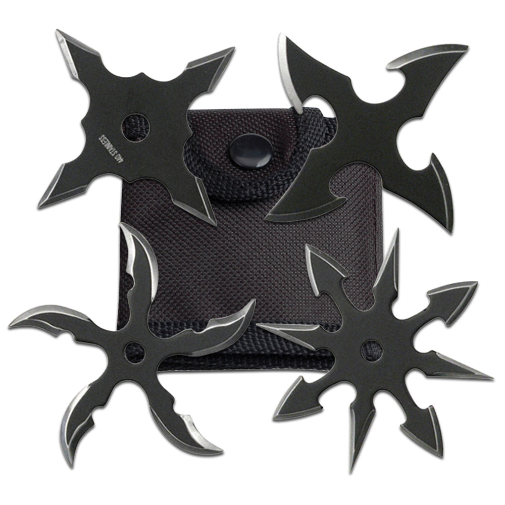 "2.5"" BLACK THROWING STAR SET OF 4 RC 107-4B"