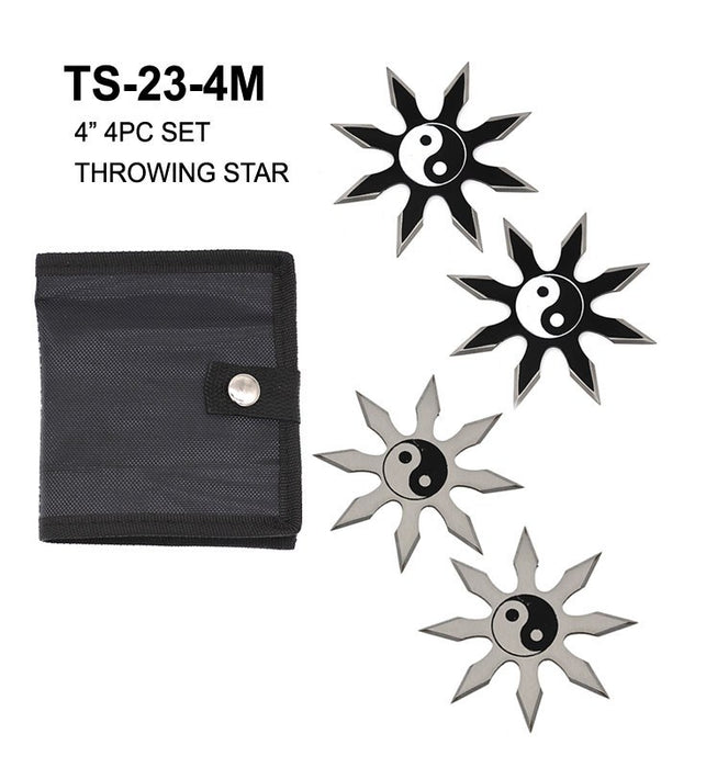 4″ 4PC SET BLACK/SILVER YING YANG THROWING STAR