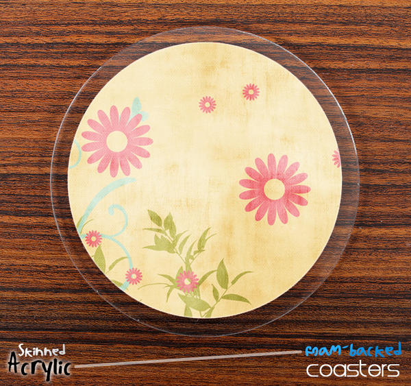 The Vintage Pink & Yellow SunFlower Skinned Foam-Backed Coaster Set