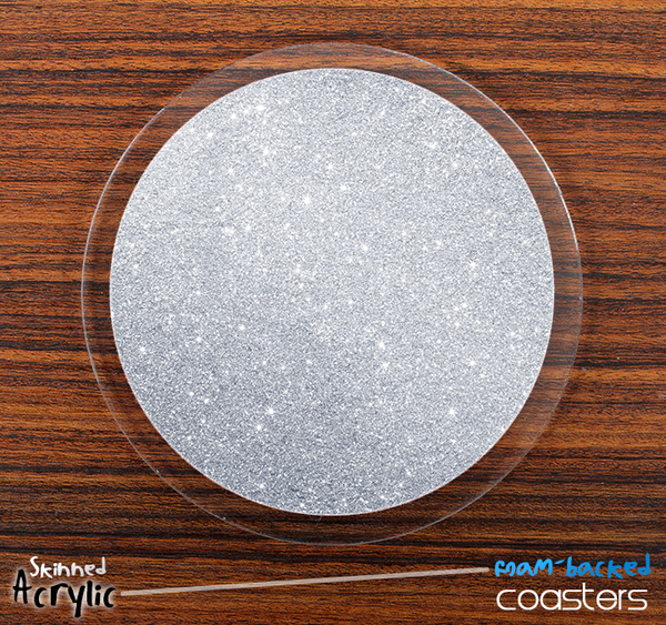 The Silver Glitter Skinned Foam-Backed Coaster Set