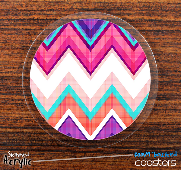 The Pink & Blue V1 Sharp Chevron Skinned Foam-Backed Coaster Set