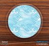 The Abstract Blue Waves Skinned Foam-Backed Coaster Set